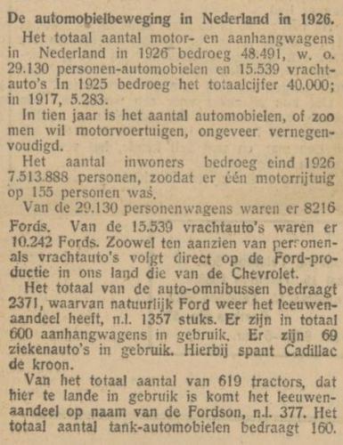 1927 auto's en ziekenauto's Arnhemse courant 19-01